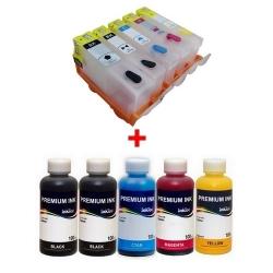 Plnitelné kazety s autoresetovacím čipem Canon PGI-525/CLI-526CMYK + 5x 100ml inkoust InkTec