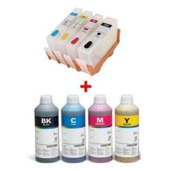 Plnitelné kazety s autoresetovacím čipem Epson T0711-T0714 + 4x 1l inkoust InkTec