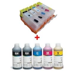 Plnitelné kazety s čipem HP 364 - 5 kazet (vč. foto černé) + 5x 1l inkoust InkTec